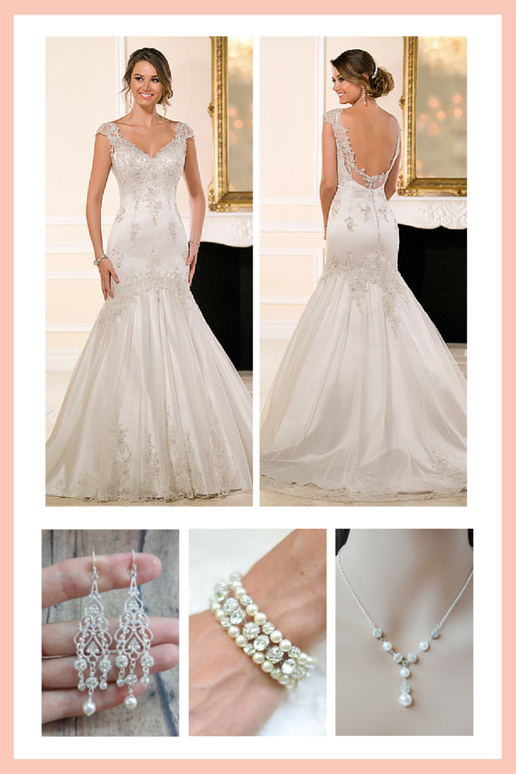 What bridal jewelry should i wear with my cap sleeve for Necklace for v neck wedding dress