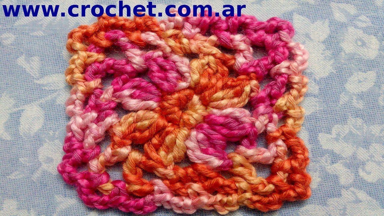 Motivo cuadrado granny square N° 2 en tejido crochet tutorial paso a ...