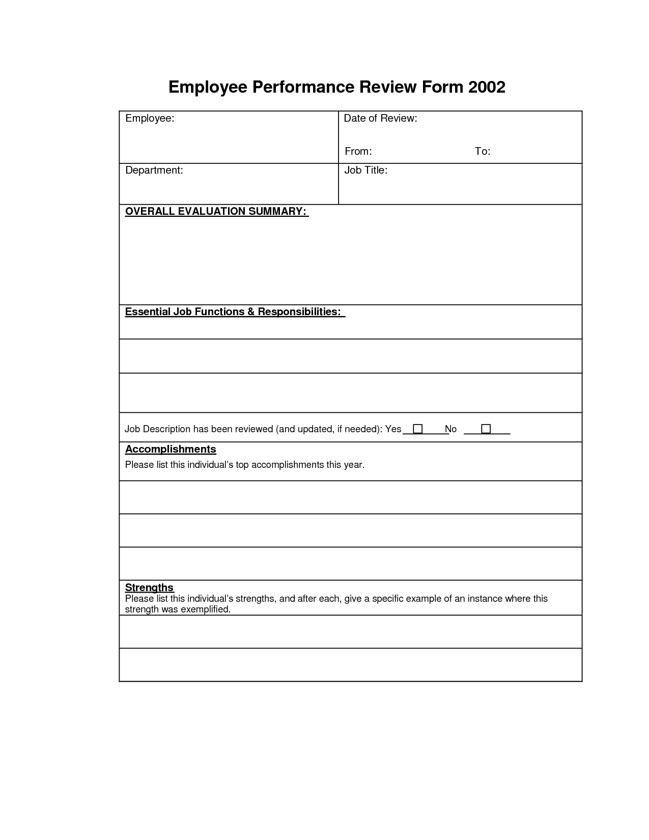 Employee Performance Review Form Free Picture