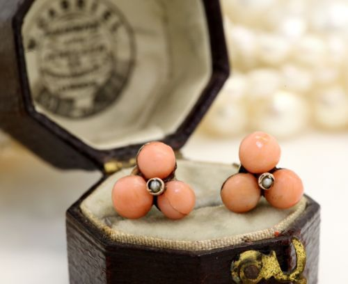 Antique C 1860 Victorian 9k 10k Gold Angelskin Coral Bead Pearl English Earrings in Jewelry & Watches, Vintage & Antique Jewelry, Fine, Victorian, Edwardian 1837-1910, Earrings | eBay