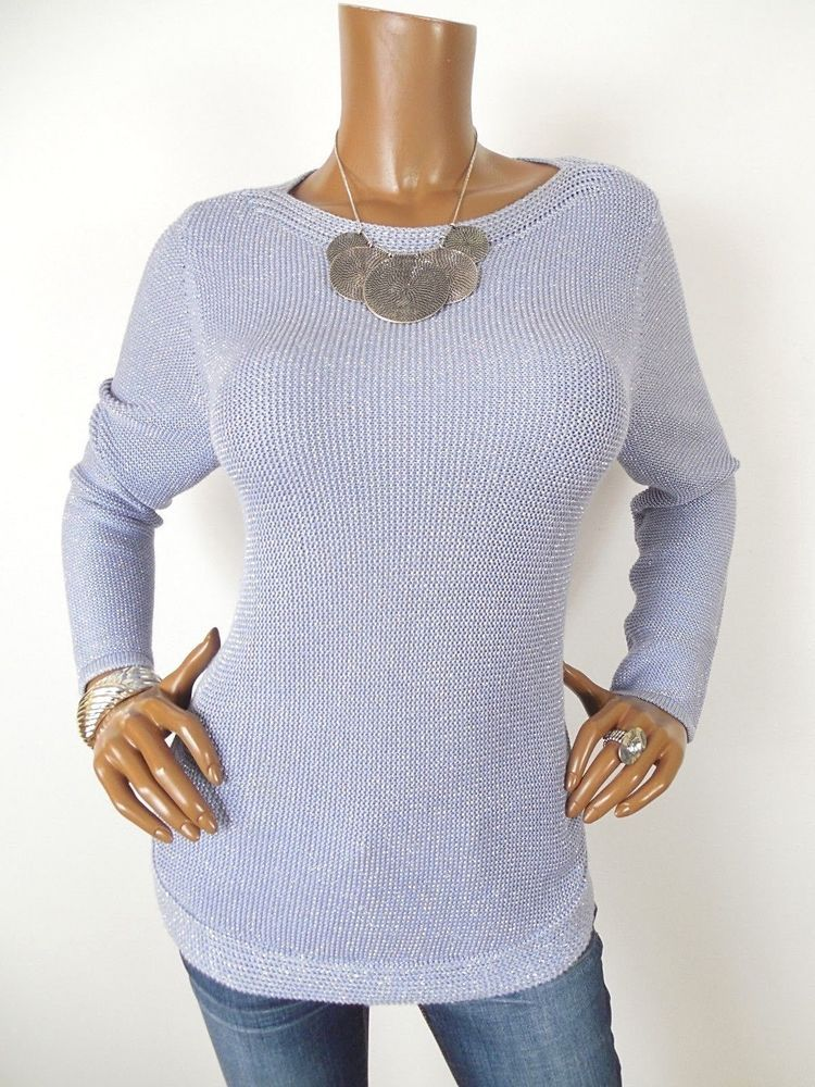 141af01c9019a CHICO S Sz 1 Womens Top S M Purple Metallic Sweater Shirt Silver Sparkle  Long Sl  fashion  clothing  shoes  accessories  womensclothing  tops (ebay  link)