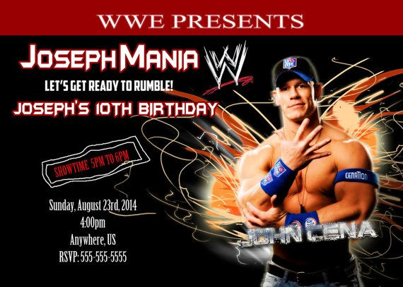 john cena birthday invitations free same day service print your, Birthday invitations
