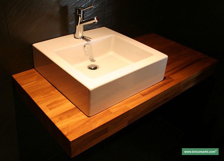 Encimera de madera para el baño, en este caso de madera de Iroko ...