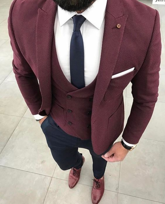 45c6ef3162aa79 Burgundy Suits are becoming a popular choice for grooms on their wedding  day and a great choice if you want to move away from the obvious navy, ...