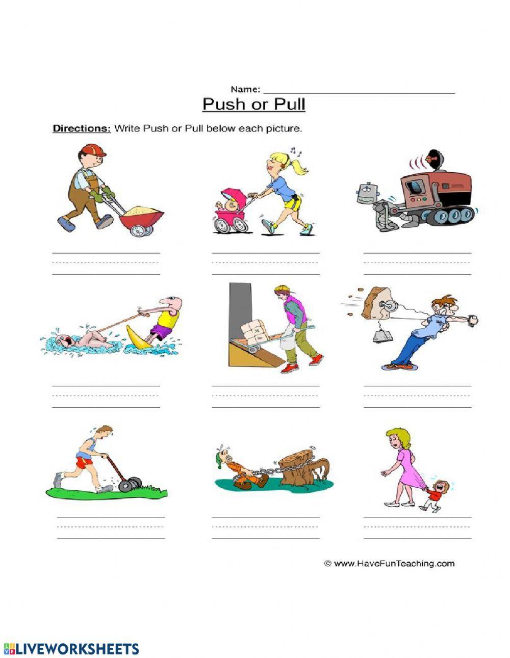 Forces Push And Pull Ficha Interactiva Fuerza Y Movimiento Fichas De Preescolar Actividades Educacion Fisica [ 1291 x 1000 Pixel ]
