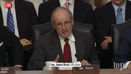 James Risch | Live: Former FBI Director James Comey Testifies Before Congress (2017 broadcast) via Washington Post (YouTube channel)