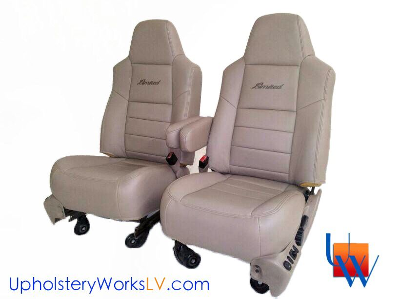 ford explorer upholstered seats in leather with custom embroidery by upholstery works in las. Black Bedroom Furniture Sets. Home Design Ideas