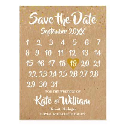 Kraft style calendar save the date postcard stopboris Images