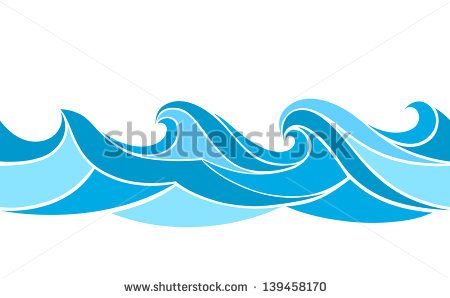 Seamless pattern with stylized waves - stock vector