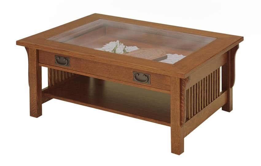 Amish Lancaster Mission Glass Top Display Coffee Table Glass Top