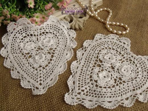 "TWO Chic Hand Crochet Heart Shape Cotton Doily White 6/"""