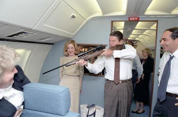 Ronald Reagan having a laugh on Air Force One in 1983 http://t.co/mljQguBXr2 http://t.co/0k37od3u6m http://t.co/zAT5vKlN6l
