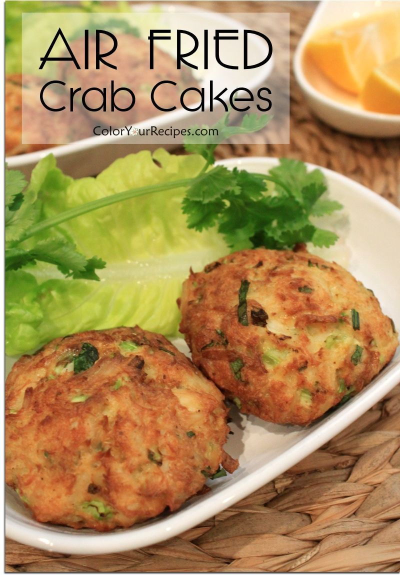 Simple and easy air fryed crab cakes color your recipes for Beer battered fish airfryer