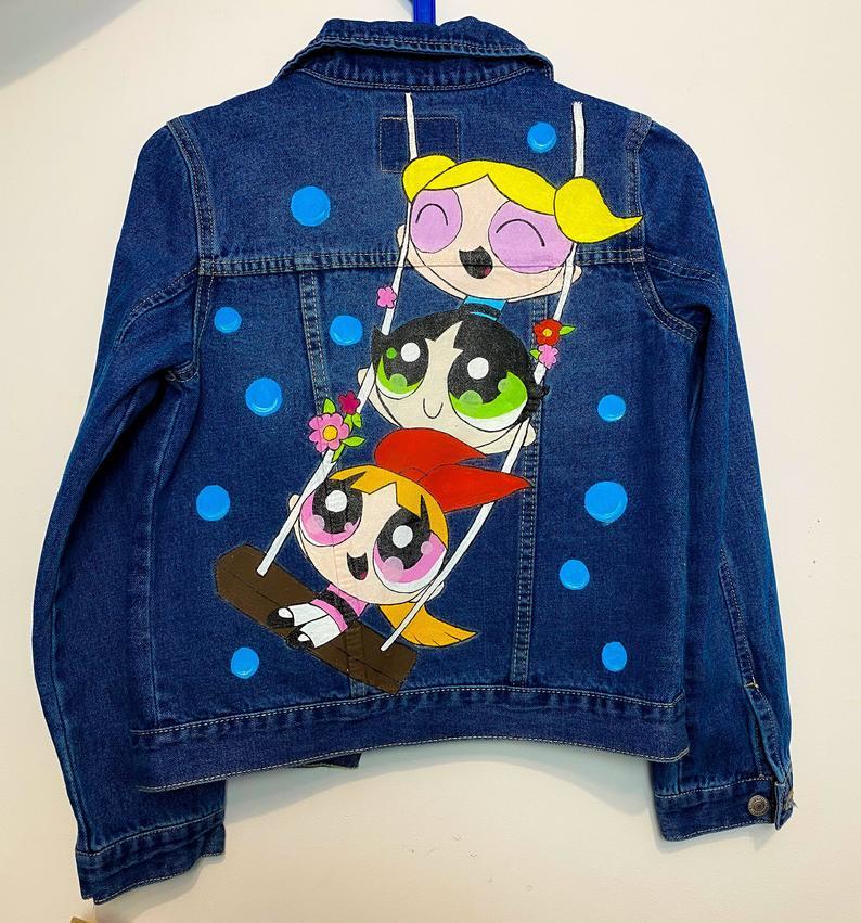 Hand painted Denim Jacket The Powerpuff Girls Cartoon Network Painting Free Shipping