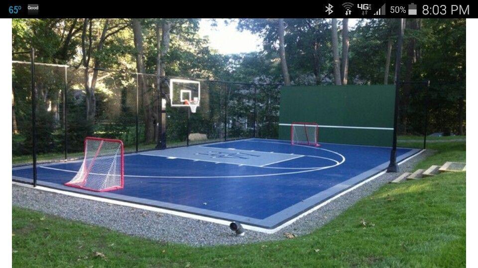 Multi-sport court - half court bball, hockey nets, tennis ...