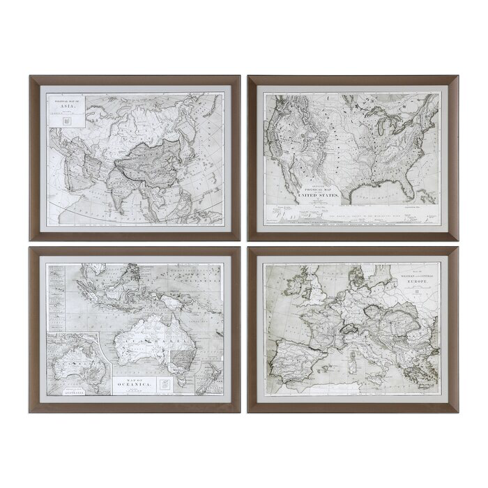 World Maps By Grace Feyock 4 Piece Picture Frame Graphic Art Print Set On Wood World Map Wall Art Framed Prints Wall Map Wall Art