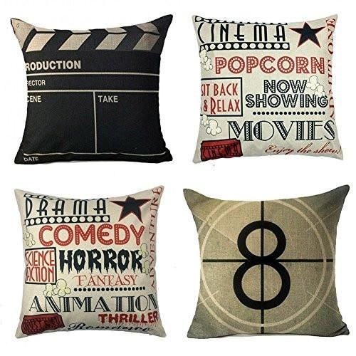 Movie Theater Cinema Personalized Home Decor Design Throw Pillow Cover Pillow Case 18 x 18 Inch Cotton Linen for Sofa Set of 4 #style #shopping #styles #outfit #pretty #girl #girls #beauty #beautiful #me #cute #stylish #photooftheday #swag #dress #shoes #diy #design #fashion #homedecor