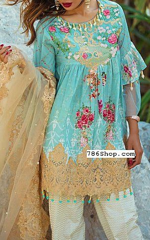 Turquoise Lawn Suit   Buy Rang Rasiya Fashion Dress is part of lawn Design Pakistani - Pakistani Lawn Suits with prices online shopping in USA, UK    Pakistani Lawn clothing for sale with Free Shipping  Call +1 5123801085