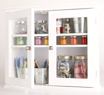 I love the idea of putting cabinets above a desk to store supplies.  A few of these can give an office space a more permanent, professional look without a big investment.