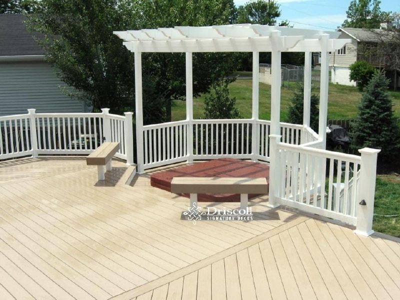 Closed In Decks 2nd Story This Would Be Nice With A Sitting Area Instead Of Hot Tub Under The Pergola