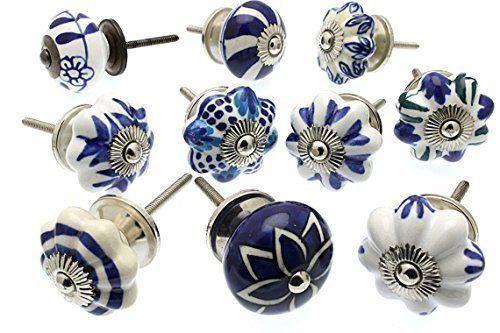 Ensemble Melange Bouton Tiroir Placard Ceramique Bleu Blanc X 10