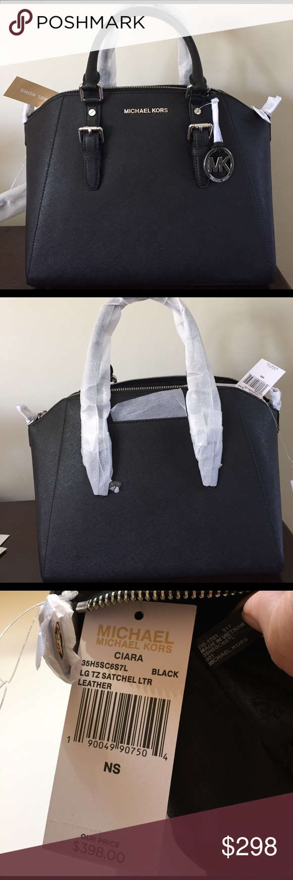 Michael Kors Large Ciara Satchel Beautiful Michael Kors Ciara Large satchel  Include long, adjustable strap. One cell pocket on the outside. 5 inside pockets including one with zipper. KORS Michael Kors Bags Satchels