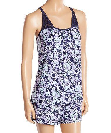 Look at this #zulilyfind! Blue Floral Tempt Me Short Pajama Set #zulilyfinds