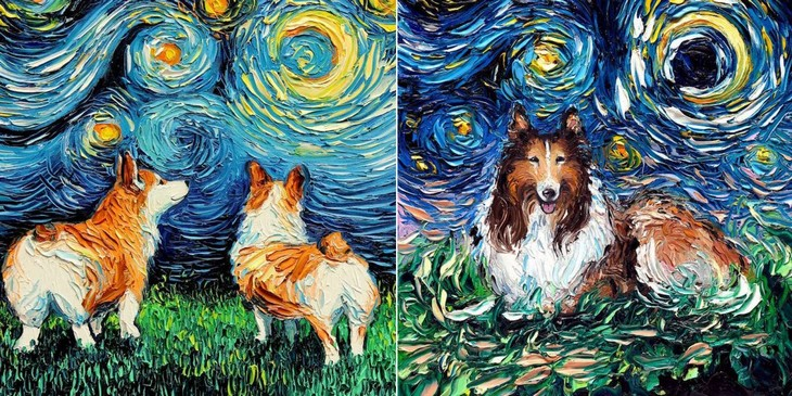 האמנית המוכשרת הזו מציירת כלבים בסגנון של הצייר הטוב בעולם