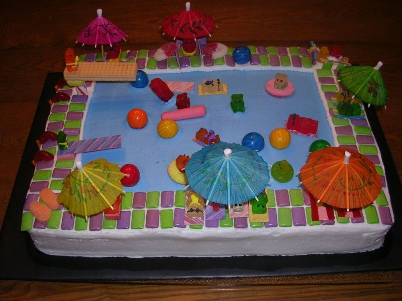 Swimming Pool by PuffCake on Cake Central Pool party