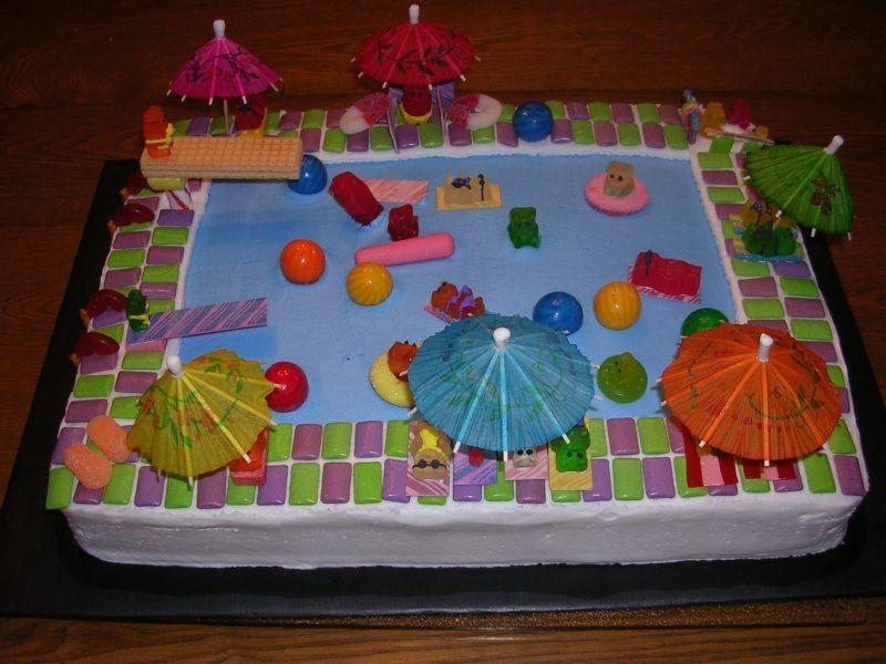 Swimming Slide Cake in 2020 Pool cake, Pool birthday