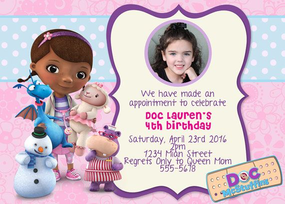 Doc McStuffins Birthday Invitation Printable Mcstuffins Invite Photo Card Birth Announcement