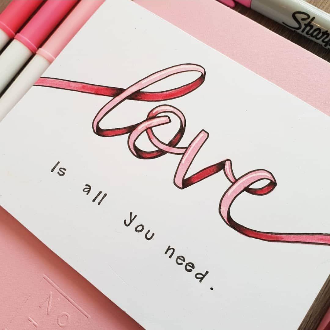 Love Is All You Need Fauxcalligraphy Handlettering Typeography Calligraphy Handbelettering Kaarten Maken Handletteren Bullet Journal Ideeën