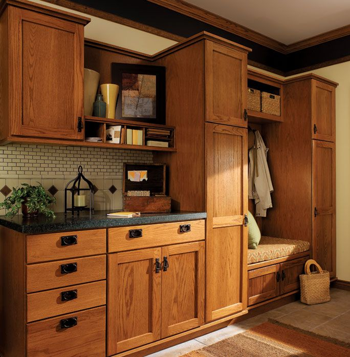 Royal Kitchen Design: Warm Kitchen With Boot Bench, Tall Storage, And Craftsman