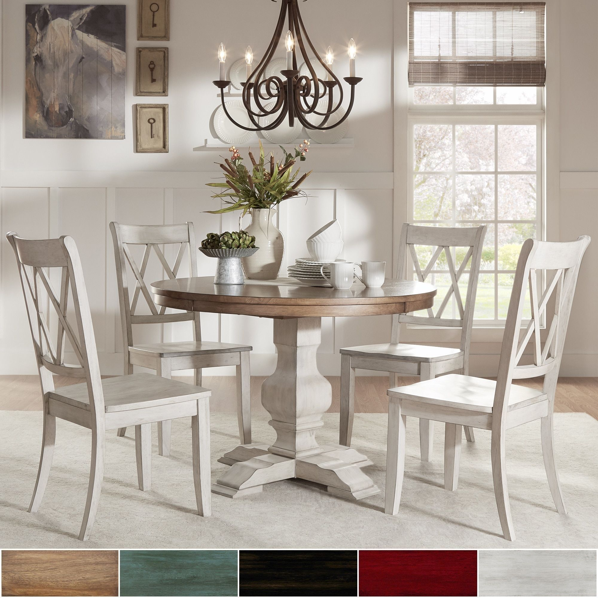 Amazing Eleanor Antique White Round Solid Wood Top 5 Piece Dining Ibusinesslaw Wood Chair Design Ideas Ibusinesslaworg