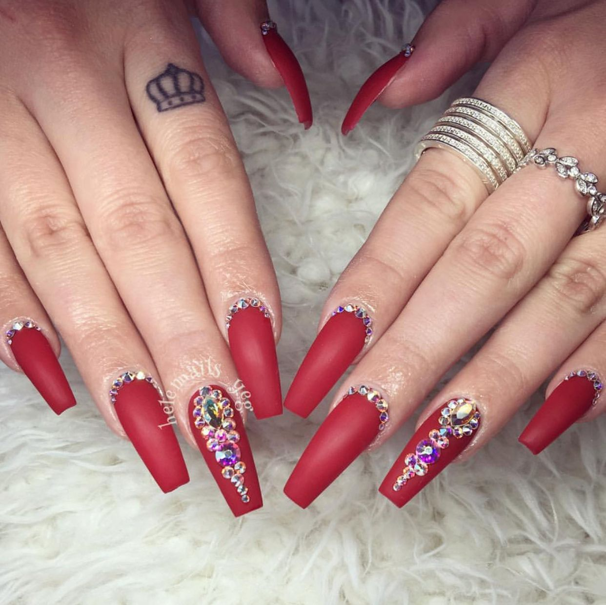 Red Bling Coffin Nails Nails Design With Rhinestones Bling Acrylic Nails Red Acrylic Nails