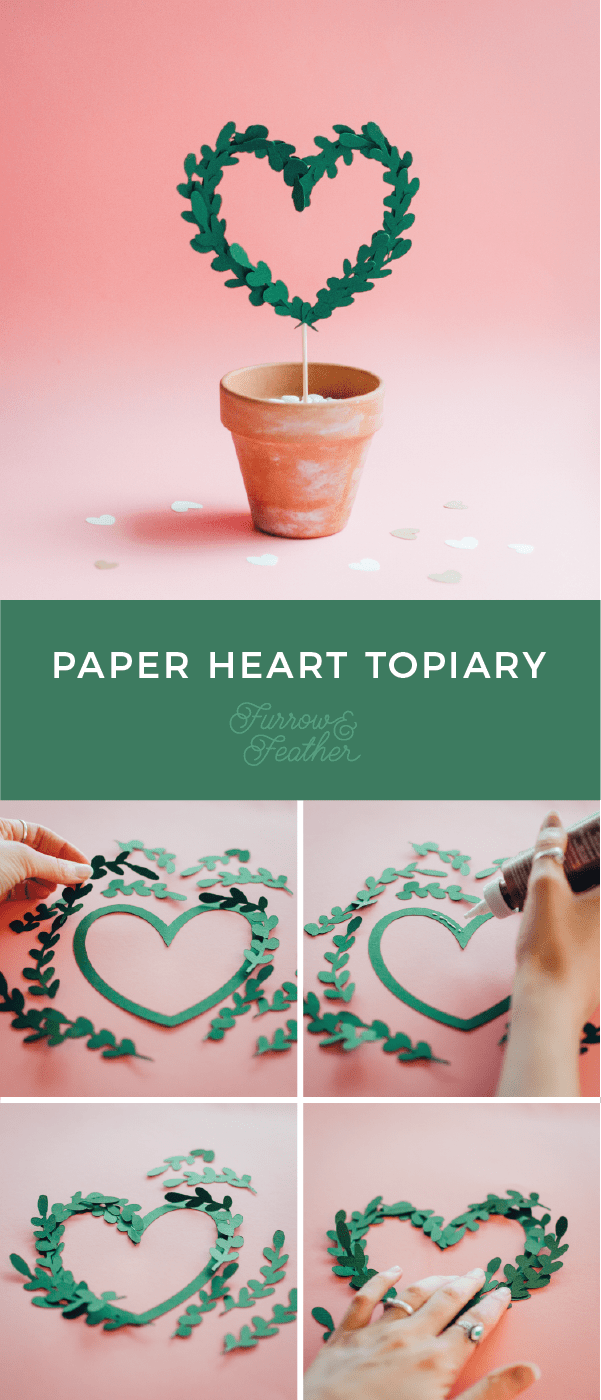 Detailed photo instructions on how to assemble the Paper Heart Topiary, a cut file from the Silhouette Design Store. Using your Silhouette CAMEO or Curio.