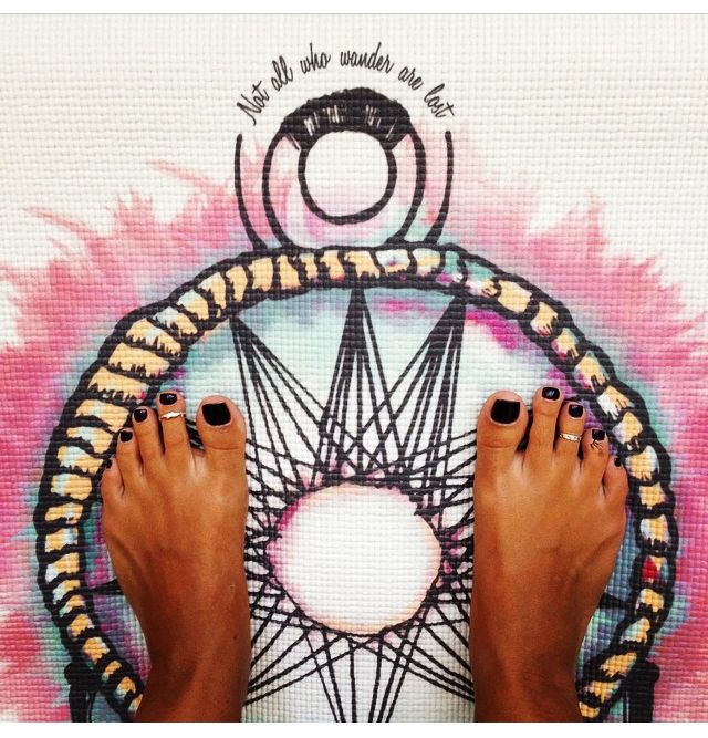 """Not all who wander are lost"" #laviebohemeyoga #dreamermat"