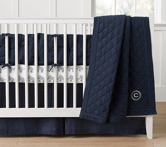 Belgian Flax Linen Nursery Bedding In Navy Pottery Barn Kids Linen Baby Bedding Nursery Bedding Navy Crib Bedding