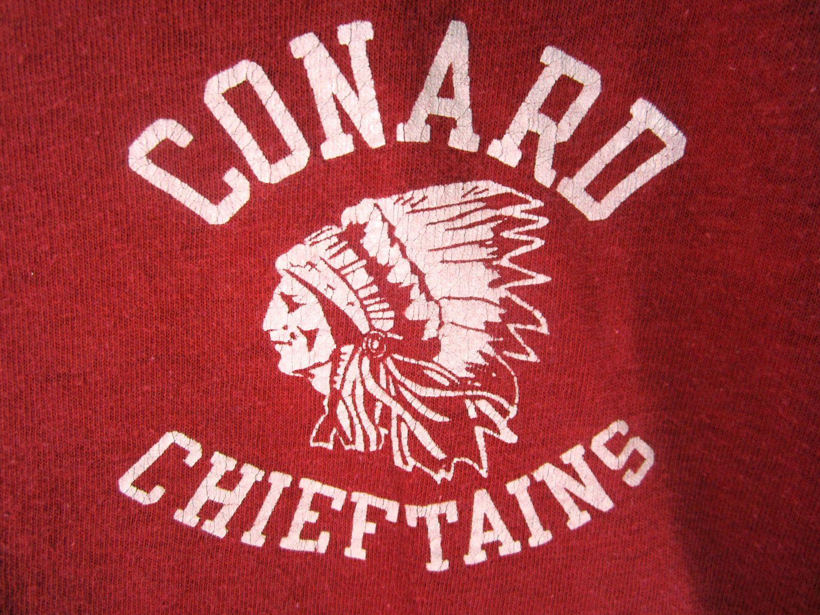 vtg champion blue bar tag t shirt conard chieftains native