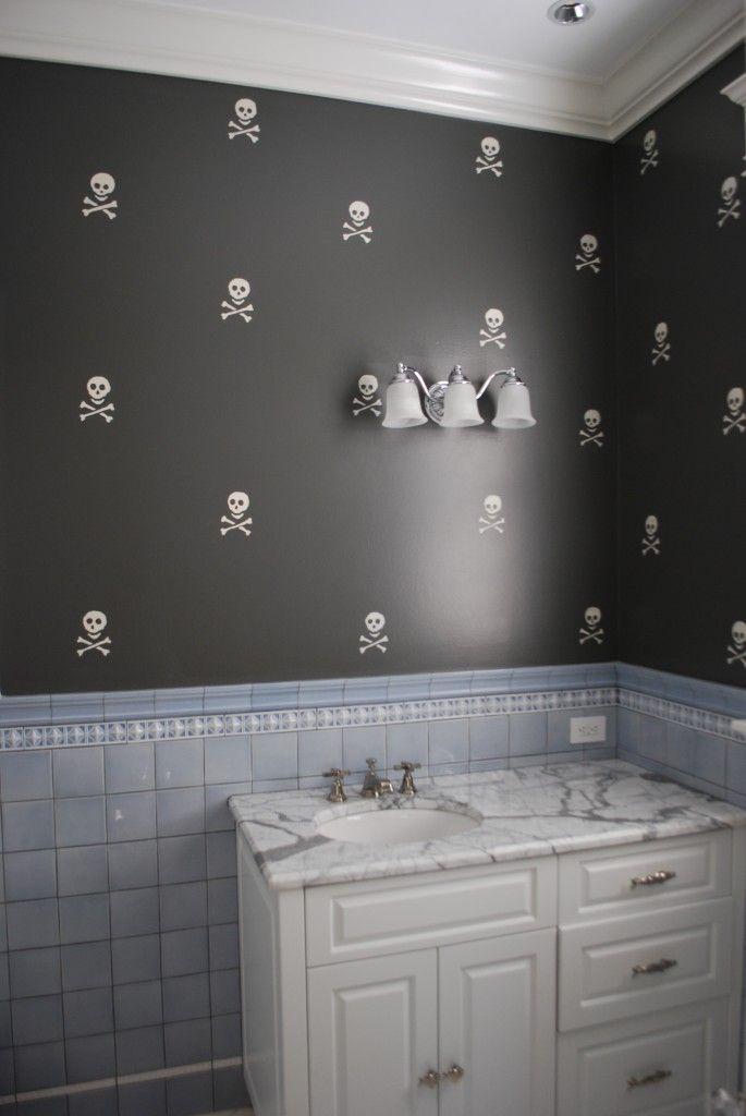 Skull Bathroom Decor: So Cute (the Blue Tile Not So Much
