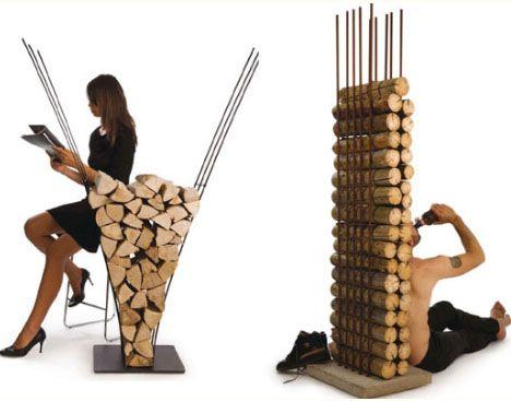 Modern Firewood Furniture by AK47 Design Making Firewood Storage