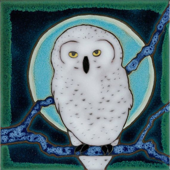Magnet Snowy Owl from my original hand painted by PacificBlueTile, $4.00