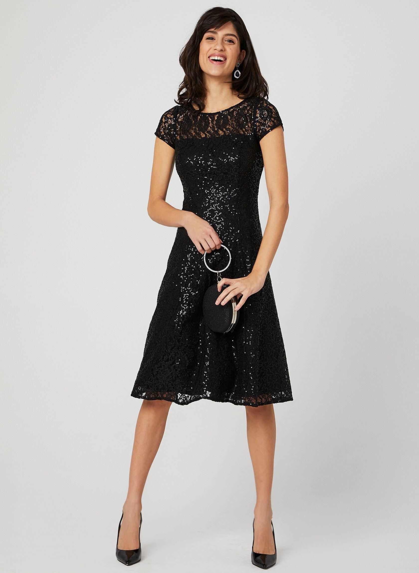 Black sequin lace fit flare dress dresses womens