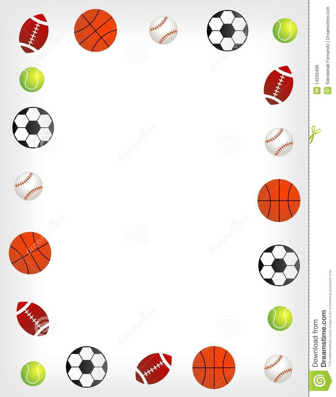 sports border clip art five different sport balls border frame on white background