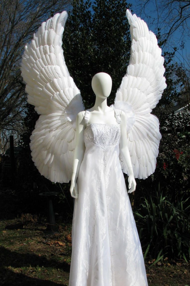 Huge Upright White Feather Angel Wings front view. Costume ...