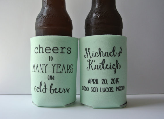 Personalized Cheers To Many Years And Cold Beers Wedding Koozies Bridal Event Favors Custom Can Cooler Coozies