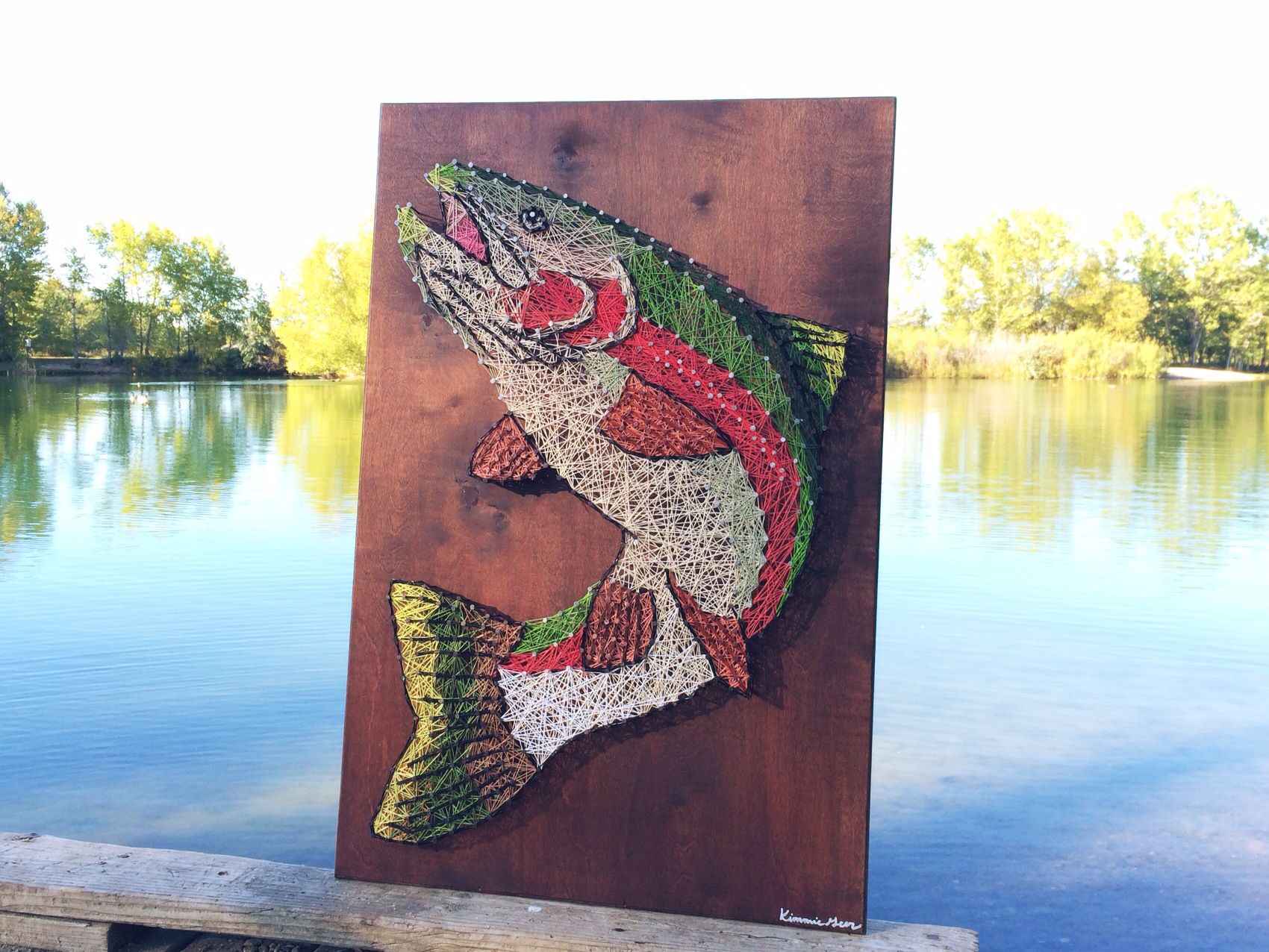 Rainbow trout string art by string nail montana fly for Fish string art