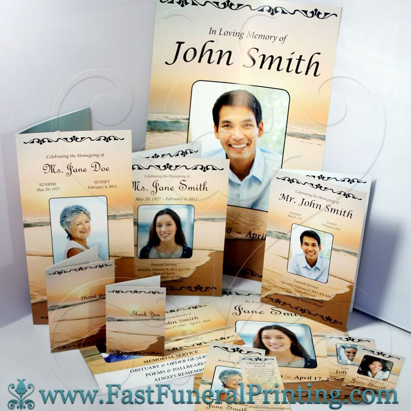 Sunset Beach Theme - Fast Funeral Printing - Funeral Programs - 35 printable obituary