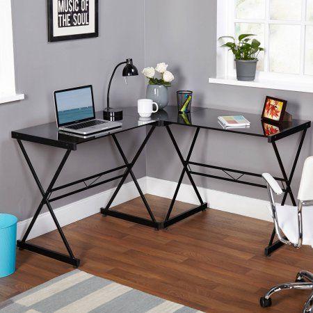 Atrium Metal And Glass L Shaped Computer Desk Multiple Colors Walmart Com Glass Desk Office Glass Corner Desk Corner Computer Desk