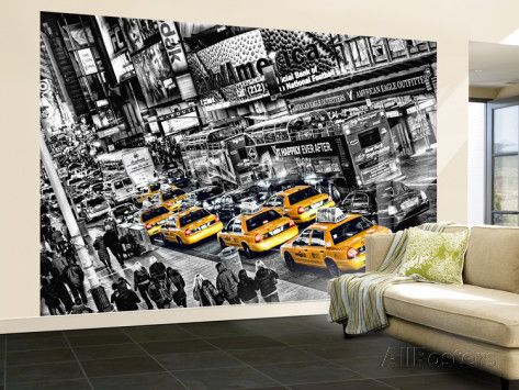 New York City Taxi Cabs Queue Huge Wall Mural Art Print Poster Wallpaper  Mural   AllPosters